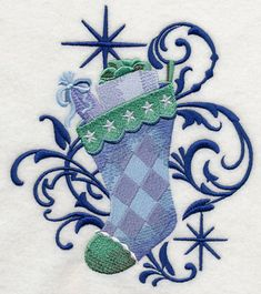 RP: Machine Embroidery: Blue Christmas Stocking and Echo
