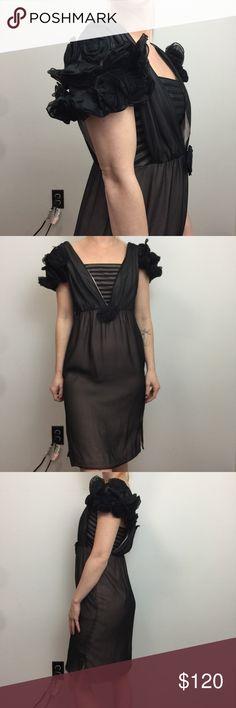 41c6392f039a Betsey Johnson Evening Silk Rosette Sleeve Dress Betsey Johnson Evening  Dress Lot 527 Betsey Johnson Dresses