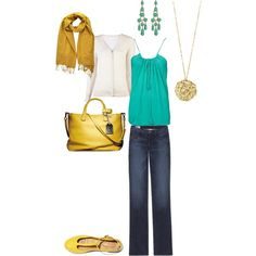 Everyday Turquoise and Yellow outfit