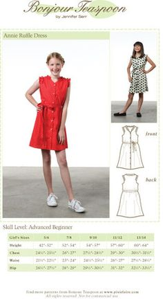 Annie Ruffle Dress Sewing Pattern for Kids sized 5/6-13/14