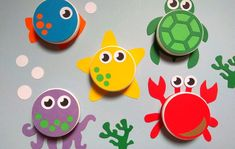 Kids Crafts, Summer Crafts For Toddlers, Baby Crafts, Preschool Crafts, Diy For Kids, Activities For Kids, Sea Animal Crafts, Animal Crafts For Kids, Bottle Top Crafts