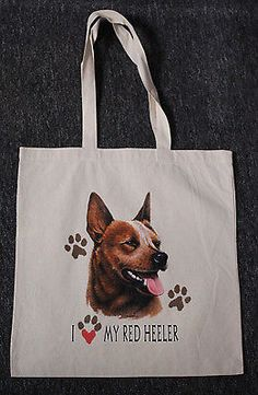 Medium Sized I Love My Red Heeler Dog Canvas Tote Bag Shopping Grocery Reusable