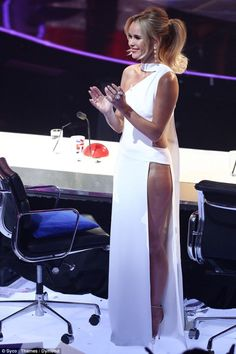 Amanda Holden and Alesha Dixon up the glamour for BGT semi-finals Amanda Holden Bgt, Britain's Got Talent, Alesha Dixon, Revealing Dresses, White Gowns, Tv Presenters, Amanda Seyfried, Event Dresses, Sexy Women