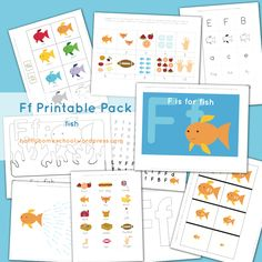 """Finally, """"F"""" is for """"fish""""! Here is what's included: Colored picture – use as puzzle or decoration Letter outline (for playdough mats, tracing, rainbow writing, gluing, etc.) Coloring/handwriting p..."""