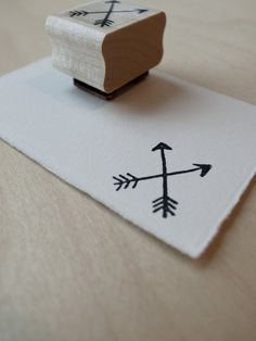 Rubber Stamp: Double Arrows (for invites, favor bags, cards). via Etsy.