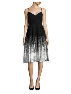 Design Lab Lord & Taylor Lace Fit-&-Flare Dress
