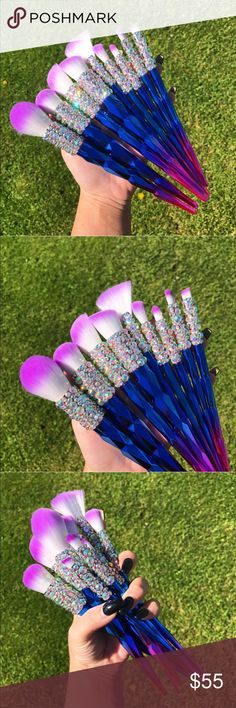 9 Pc Unicorn Crystallized VEGAN Makeup Brush Set Set of 9 assorted ombré style, handmade, VEGAN, synthetic hair, one of a kind makeup brushes. The hairs are dense and synthetic, making creating a blended, seamless makeup look easier than ever. Crystals are sealed on. Tags Ulta Morphe Tarte  1) large powder / bronzing brush 2) fan brush  3) angled contour brush 4) angled blending brush  5) precision blush brush  6) highlight or large precision blending brush 7) flat packing brush 8)…