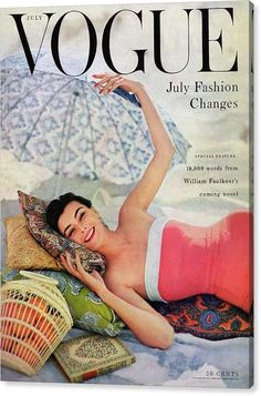 Fashion Vintage Vogue Cover - July 1954 Poster Print by Karen Radkai at the Condé Nast Collection - A Vogue Cover Of Anne Gunning Under An Umbrella by Karen Radkai Foto Fashion, Vogue Fashion, 1950s Fashion, High Fashion, Fashion Vintage, Steampunk Fashion, Gothic Fashion, Luxury Fashion, Fashion Trends