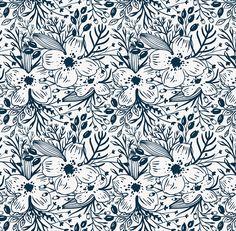 Vector set of sketchy floral patterns.