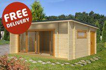 Java - 6.08m x 3.9m - Premium 70mm Log Cabin with Bifold Double Glazed Doors - Under 2.5m Glazed Doors, Garden Studio, Folding Doors, Java, Shed, Relax, Outdoor Structures, Cabin, Building