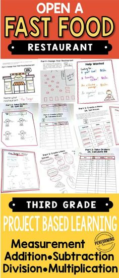 Based Learning for Open a Fast Food Restaurant Third grade project-based learning: Open a fast food restaurant. Great for Common Core Math standards!Third grade project-based learning: Open a fast food restaurant. Great for Common Core Math standards! 3rd Grade Classroom, Third Grade Math, Math Classroom, Grade 3, Food Grade, Sixth Grade, Classroom Ideas, Future Classroom, Fourth Grade