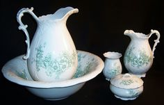 Antique Homer Laughlin Bowl Pitcher Bath Set Ruth's Redemptions Antiques and Collectibles. Bathroom Commode, Dresser Sets, Homer Laughlin, China Patterns, Cool Items, Dinnerware, Tea Pots, Antiques, Regency Dress
