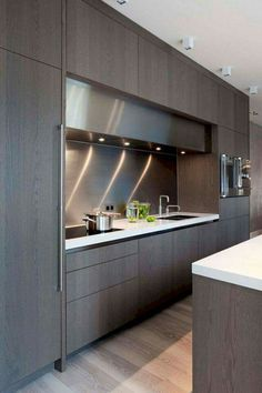 The best modern kitchen design this year. Are you looking for inspiration for your home kitchen design? Take a look at the kitchen design ideas here. There is a modern, rustic, fancy kitchen design, etc. Luxury Kitchen Design, Contemporary Kitchen Design, Best Kitchen Designs, Luxury Kitchens, Interior Design Kitchen, Modern Interior Design, Home Design, Home Kitchens, Design Ideas