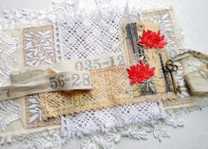 Sizzix Thinlits Intricate Corners Wendy Vecchi Bravo All Scratched Up Junk Journal Wrap for The Funkie Junkie Boutique 2 Black Tims, Shabby Chic Gifts, Black Acrylic Paint, Paint Line, Tea Stains, Cheese Cloth, Satin Stitch, Cotton Lace, Embroidery Thread