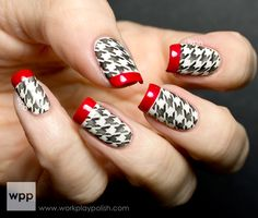 Houndstooth patterned French Manicure using OPI Alpine Snow, Black Onyx and Red