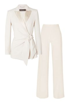 Max Mara Satin-trim wrap blazer - and Matching wide-leg trousers - Best Wedding Suits, Wedding Dress Suit, Womens Wedding Suits, Womens Dress Suits, Wedding Attire, Suit Fashion, Look Fashion, Fashion Dresses, Classy Work Outfits