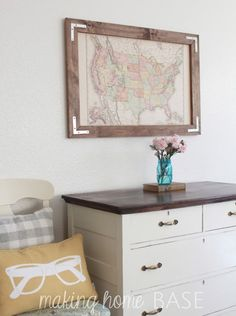 Crafts with maps pinterest framed maps diy frame and map crafts diy rustic framed vintage map easy diy wall art you can custom make gumiabroncs Choice Image