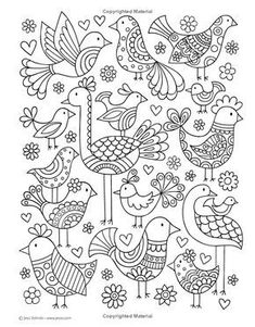 """""""Notebook Doodles Super Cute: Coloring & Activity Book"""" by Jess Volinski Bird Drawings, Doodle Drawings, Easy Drawings, Doodle Art, Colouring Pages, Adult Coloring Pages, Coloring Books, Embroidery Patterns, Hand Embroidery"""