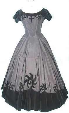 c. early 1950's Worth of Wellesley Black Taffeta and Velveteen Ballgown-- not a House of Worth gown. Comes from a shop in Maine.