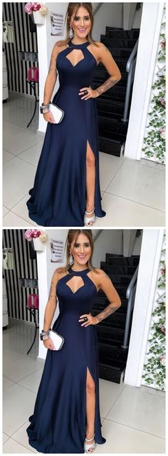 Navy Blue Floor Length Evening Dress, Long Prom Dress with Slit, Formal Gown Classy Prom Dresses, Sexy Dresses, New Party Dress, Party Dresses, Ball Gown Dresses, Evening Dresses, Blue Floor, Slit Dress, Formal Gowns