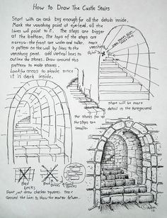 How To Draw Stone Stairs Worksheet.  http://drawinglessonsfortheyoungartist.blogspot.com/2012/10/how-to-draw-stone-stars-lesson-and.html