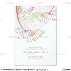 Pink Dandelions Flower Spring Wedding Reception 3.5x5 Paper Invitation Card