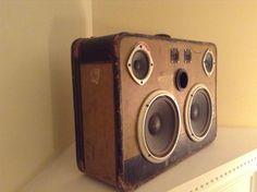 Portable Vintage Suitcase Stereo Boombox a von TheFunkadelicRelic, $300.00