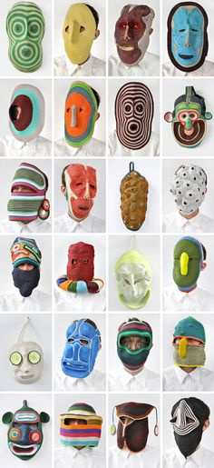 fan of these awhile back, nice to see a collection photo: rope masks by BertJan Pot