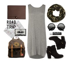 """Pieces Dress Gily Grey"" by thestyleartisan ❤ liked on Polyvore featuring River Island, Pieces, Roots, Coach, CASSETTE, Chapstick, roadtrip, camouflage, roundsunglasses and greydress"