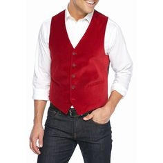 Madison Red Velvet Vest ($60) ❤ liked on Polyvore featuring men's fashion, men's clothing, men's outerwear, men's vests, red, mens vest, mens red vest, mens red velvet vest, mens vest outerwear and mens velvet vest