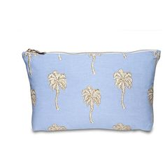 Elizabeth Scarlett Palmier Wash Bag - Chambray (120 RON) ❤ liked on Polyvore featuring beauty products, beauty accessories, bags & cases, blue, makeup purse, make up purse, travel toiletry case, cosmetic bag and dop kit