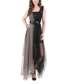 Another great find on #zulily! Black & Gray Belted Sheer-Overlay Maxi Dress by Demoda #zulilyfinds