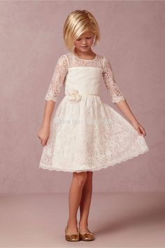2016 Pretty Lace Half Sleeve A-Line Flower Girl Dresses