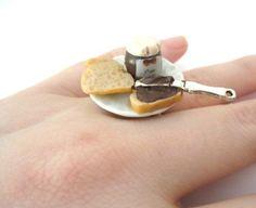 Brot mit Nougatcreme Teller - Ring schmuck-stadt: