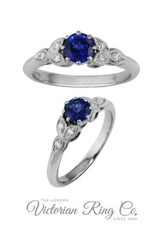 The deep blue central sapphire in this engagement ring is highlighted by three diamond-set leaves on either side of the gemstone. This creates a floral aesthetic with the diamonds have a millegrain edging for extra detail. #bluesapphireengagementring #sapphirering #floralengagementring #bluesapphire #floralaesthetic
