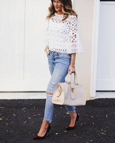 Bag: tumblr eyelet detail eyelet top white top white lace top lace top three-quarter sleeves denim