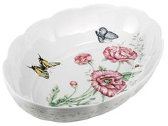 Lenox Butterfly Meadow Fine Porcelain Oval Baker by Lenox. $59.95. Oval-shaped baker with garden-inspired imagery. Crafted from Lenox fine porcelain. Measures 13 by 9 by 2-1/2 inches. Goes from the oven to the table to the freezer. Safe for the dishwasher and microwave. Amazon.com                Add a little garden inspiration to your best recipes with  this oval-shaped Butterfly Meadow baker from Lenox. Both lovely and  convenient, the fine porcelain piece lets you bake an...