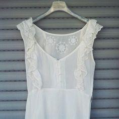#Vestito #abito #bianco #trasparente #pizzo #lino #vintage #mini #S #40 #donna bellissimo vestitino bianco con ricami in pizzo taglia S