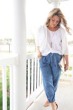 Woven Jogger Pants Tutorial | Learn how to make a pair of stylish DIY joggers with this sewing tutorial!