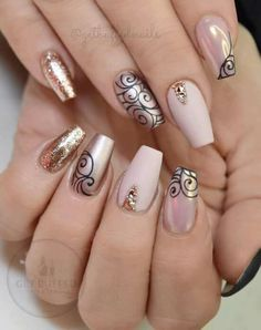 Astonishing Nail Art Designs From 21 Cool Coffin Shape Nails Designs To Copy Diy Nail Designs, Simple Nail Designs, Nail Design Spring, Nagel Hacks, Jugend Mode Outfits, Coffin Shape Nails, Nails Shape, Acrylic Nail Shapes, Acrylic Nails