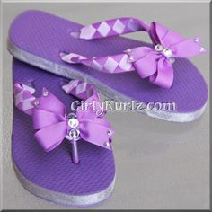 Purple Woven Flip Flops to Match our Sofia the First Headband 3 Bows in 1 Set!