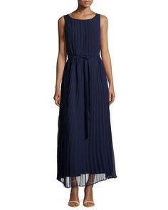TAADT Sharagano Pleated Belted Sleeveless Maxi Dress, Navy