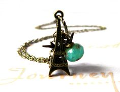 Eiffel Tower Necklace Swallow Turquoise Necklace by MsBsDesigns, $22.00