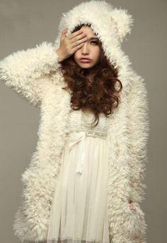 Cute Bear Ear Design Hooded Long Sleeves Women's White Faux Fleece Coat, WHITE, L in Jackets & Coats | DressLily.com