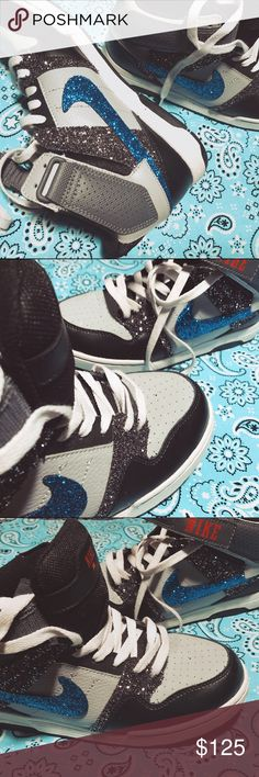✨👟 Custom ✨ BLING ✨ sparkle Nike Air sneakers These are BRAND NEW Nike high dunks, light gray, dark gray and blue. So super cute and so SPARKLY! Pictures DO NOT DO justice to show how much these sparkle! They are unique, one of a kind. The sparkle DOES NOT come off. It is durable. These are a size 6y, will fit a 7.5-8 in women's. Be different. Get yo' custom kicks TODAY! #nike #air #sneakers #kicks #hightop #dunc #basketball #jordan #blue #custom #running #sports #oneofakind #customorder…