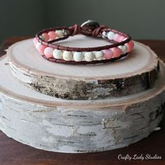 Leather single wrap bracelet with dyed white howlite and pink shell beads