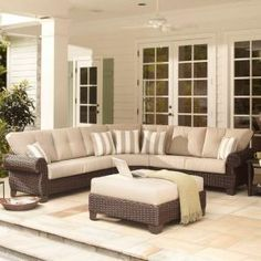 Hampton Bay Mill Valley 4-Piece Patio Sectional Set with Parchment Cushions 143-002-4SECOLE at The Home Depot - Mobile