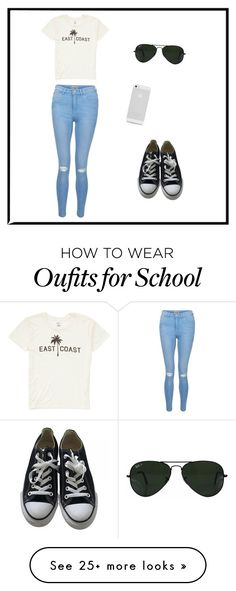 """""""In School"""" by e-m1212 on Polyvore featuring Billabong, New Look, Ray-Ban and Converse"""