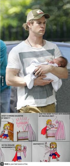 Thor and his daughter. His face.: