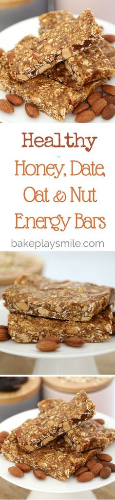 When you're after a healthy boost, these Honey, Date, Oat & Nut Energy Bars are just what you need. The perfect mid-afternoon pick-me-up! Healthy Bars, Healthy Baking, Healthy Desserts, Healthy Drinks, Healthy Fit, Healthy Breakfasts, Eating Healthy, Baking Recipes, Snack Recipes